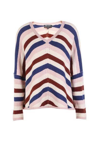 Vero Moda Colored Stripes Round Neckline Knit|317413501, Blue, large