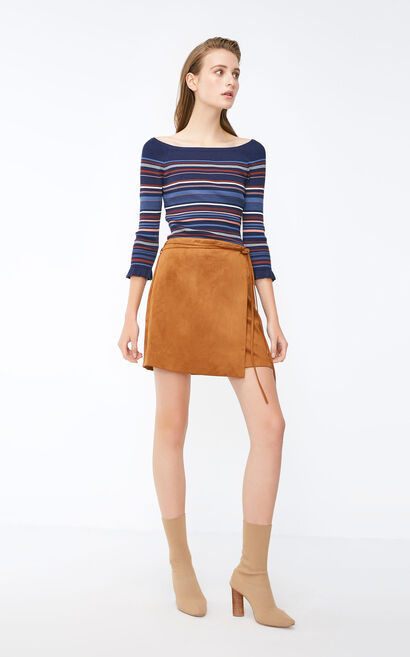 Vero Moda 2018 Autumn OL Style Lace-up Suede Skirt , Brown, large