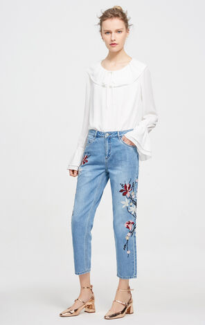 Vero Moda Women Cotton Flower Embroidered Jeans 318149519