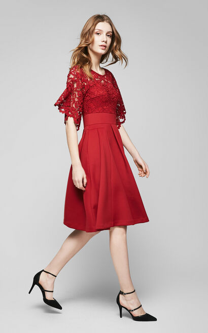 Vero Moda Flare Sleeve Faux Two-piece Lace Splice Dress|317261502, Red, large