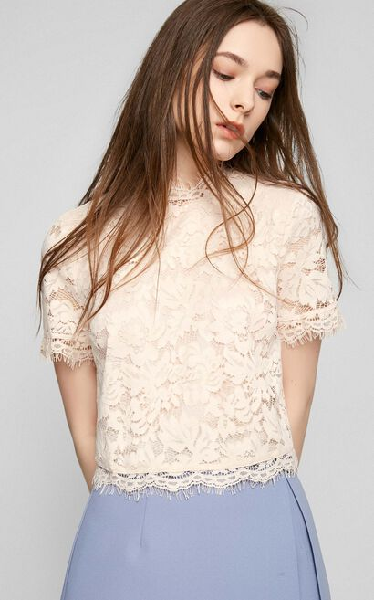 Vero Moda Laced Fabric Tiny Stand-up Collar Short-sleeved Lace T-shirt|317201571, Pink, large