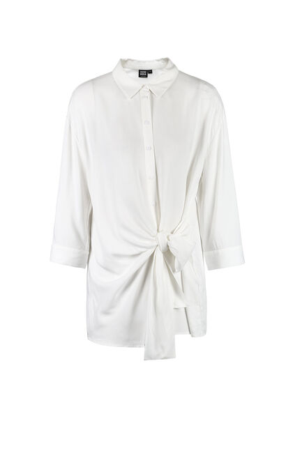 Vero Moda Women's Turn-down Collar 3/4 Sleeves Lace-up Mid-length Shirt|318231540, White, large