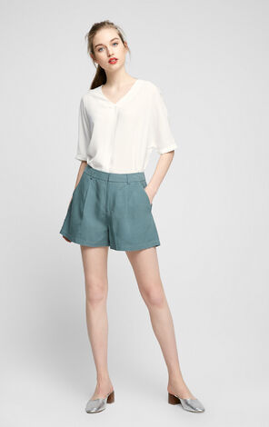 Vero Moda Side Hand Pocket Decorative Rear Pocket Linen Shorts |317215502