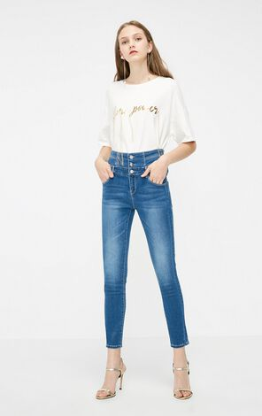 Vero Moda 2019 Women's Washing Antique Finish Lace-up Crop Jeans|319249506
