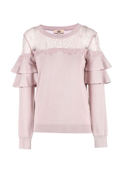 Vero Moda women's pleated design lace knit stitching sweater |318324520, Pink, large