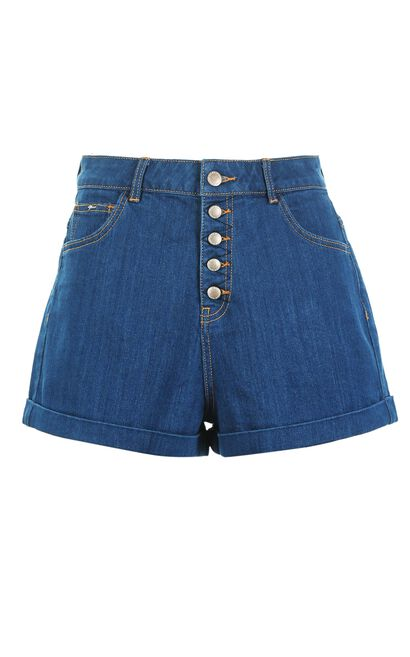 Vero Moda Buckle Fly Washed Roll-up Denim Shorts|317143501, Blue, large