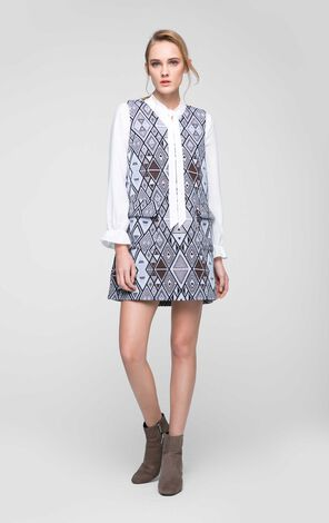 Vero Moda Lace-up Collar Two-piece Shirt Dress|31717D507