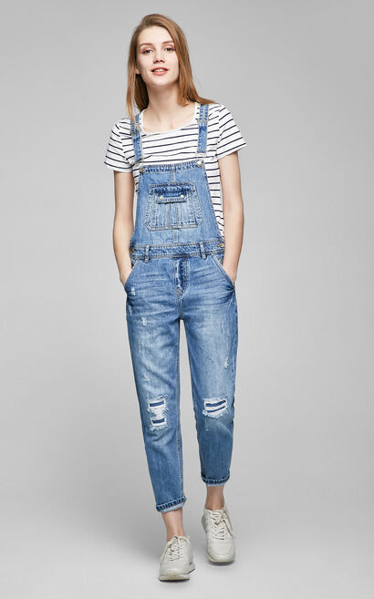 Vero Moda 100% Cotton Patched Distressed Denim Crop Overalls|317164505, Aqua, large