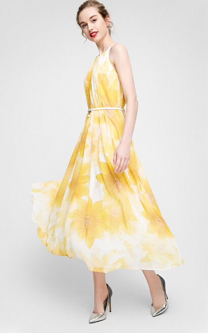 Vero Moda Floral Print Folded Long Dress|31717A505, Yellow, large
