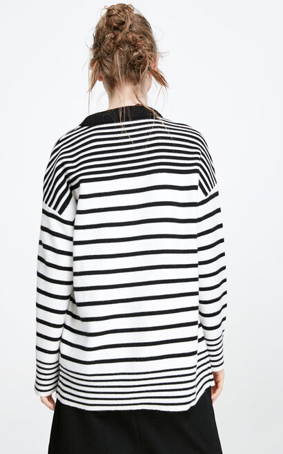 Vero Moda Loose Fit Striped Knit|317413507, White, large