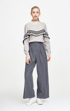 Vero Moda Striped Wide-leg Woolen Crop Pants|317450511