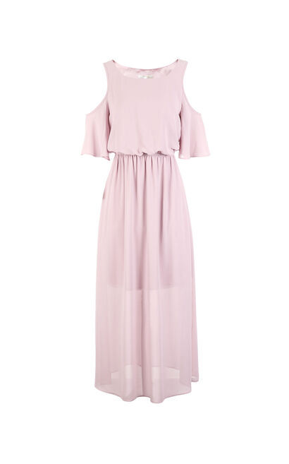 Vero Moda Off-the-shoulder ruffle sleeve elastic high-waist chiffon dress |31736Z508, Apricot, large