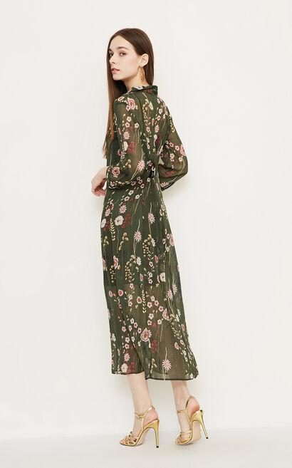 Vero Moda Printed Turn-down Collar 3/4 Sleeves Dress|318231531, Army Green, large