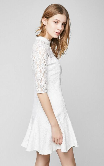 Vero Moda Round Neckline Elbow Sleeves Cinched Waist A-lined Lace Dress|31716Z524, White, large