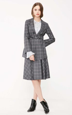 Vero Moda 2019 Women's Lapel Plaid Lace-up Blazer|319108507