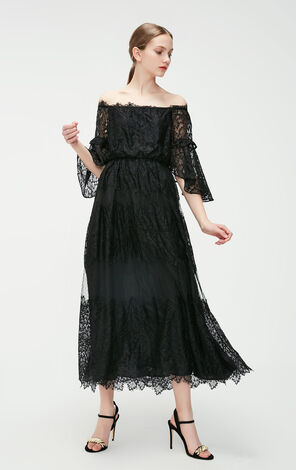 Vero Moda 2019 Spring New Flare Sleeves Laced A-line Long Dress