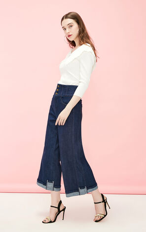Vero Moda 2019 High-rise Wide-leg Crop Jeans|319149526