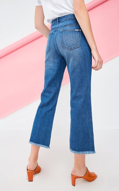 Vero Moda 2018 Autumn Wash Effect Raw-edge Slits Wide-leg Crop Jeans , Blue, large