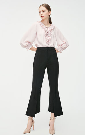 Vero Moda 2019 Spring New Frilled Lace-up 3/4 Sleeves Straight Fit Chiffon Shirt|319158504