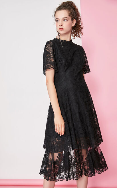 Vero Moda Women's Layered Lace Dress 31937B522, Black, large