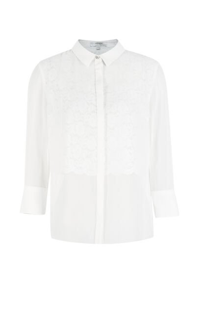 Vero Moda Women's Concealed Button Laced Lining 3/4 Sleeves Chiffon Shirt|317331512, White, large