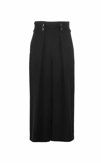 Vero Moda 2018 Women's Winter Waist Belt Pleated Wide-leg Pants , Black, large