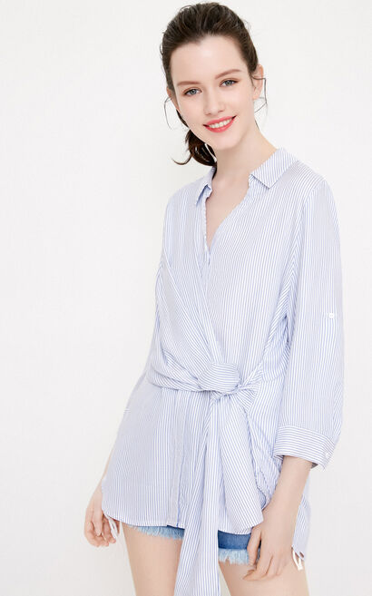 Vero Moda Women's Striped Turn-down Collar Lace-up 3/4 Sleeves Shirt|318231575, Blue, large
