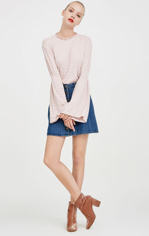 Vero Moda Laced Round Neckline Flare Sleeves Striped Knit T-shirt|317402513