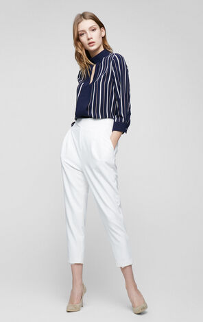 Vero Moda Hollow neck three-quarter sleeved stripe chiffon shirt|317358513