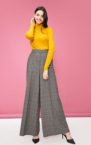 Vero Moda women's new wide-leg plaid slacks|318439501