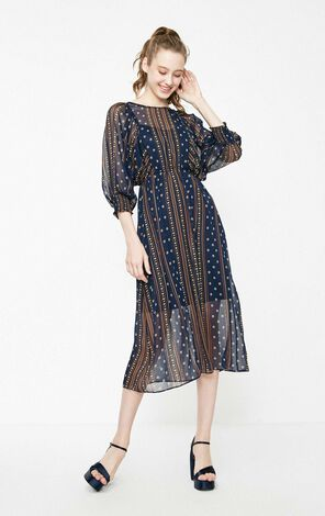 Vero Moda 2019 Spring New Printed Elasticized Sleeves Silky Lining Dress