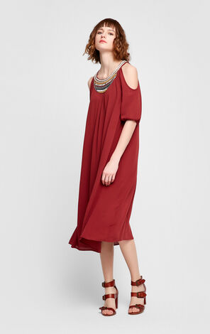 Vero Moda Bohemian Beaded Pure Color Dress|31716Z518