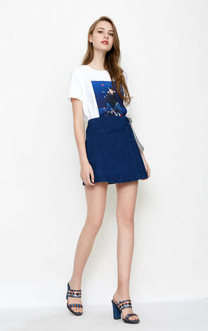 Vero Moda Decorative Waist Belt A-line Denim Midi Skirt|318237508