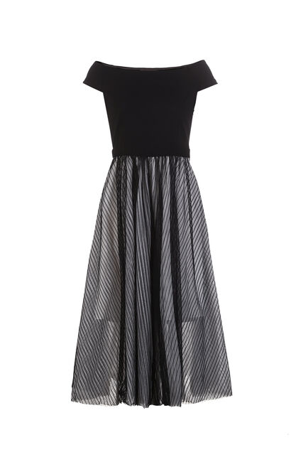Vero Moda Spliced Gauze Boat Neck Dress|31827A518, Black, large