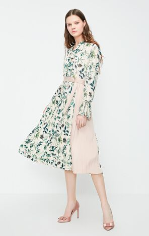 Vero Moda 2019 Spring New Lace-up Neckline High-rise Assorted Colors Pleated Dress|31917D515