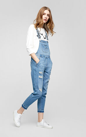 Vero Moda Ripped Denim Crop Overalls|317164508