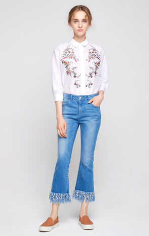 Vero Moda Regular Fit Embroidered 3/4 Sleeves Shirt|317431504