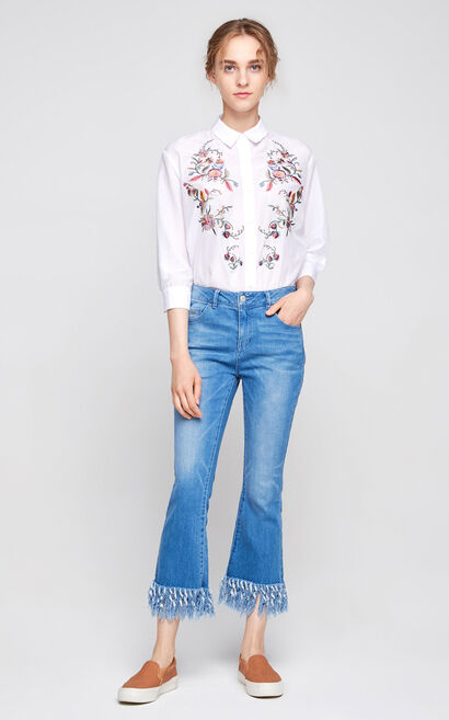 Vero Moda Regular Fit Embroidered 3/4 Sleeves Shirt|317431504, White, large