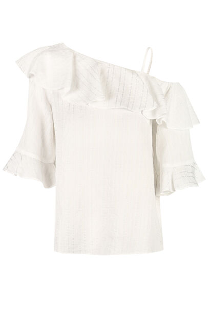 Vero Moda women's ruffled off-the-shoulder half sleeve top|31926X511, White, large