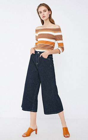 BELLA STRIPE 7/8 HW LOOSE JEANS(AL)