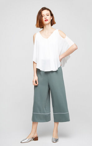 Vero Moda Faux Two-piece Two-layer V-neck Ruffled Sleeveess Chiffon Shirt|31726X518