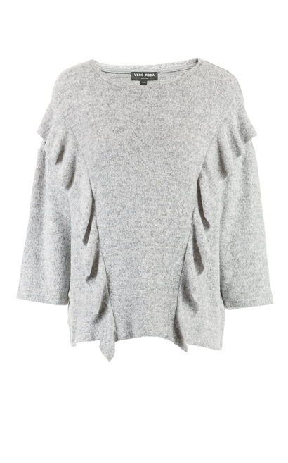 Vero Moda Frilled Knitted Tops 317430525, Blue Gray, large