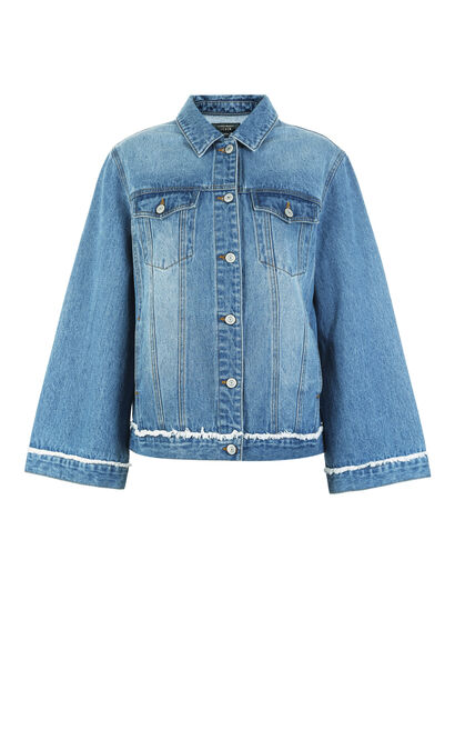 Vero Moda Women's Back Letter Print Flared Cuffs Raw-edge Denim Jacket|318357501, Blue, large