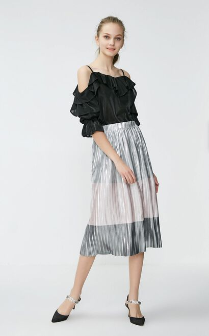 Vero Moda 2019 Pearly-lustre Assorted Colors Pleated Skirt|31921G501, Hotpink, large
