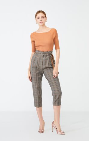 Vero Moda Women's Double Waistbands Plaid Capri Pants | 31936J520
