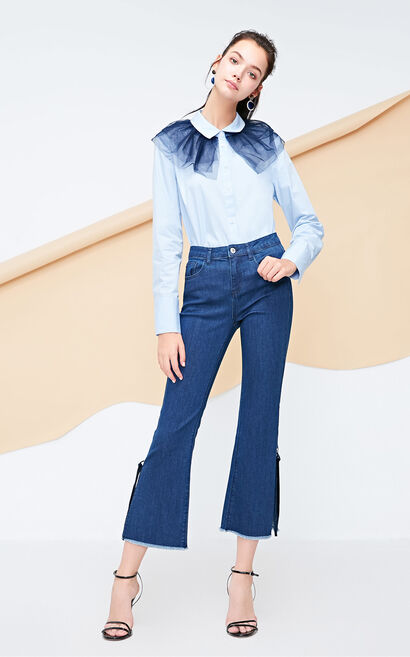 Vero Moda 2018 Autumn Lace-up Raw-edge Cuffs Crop Jeans , Blue, large