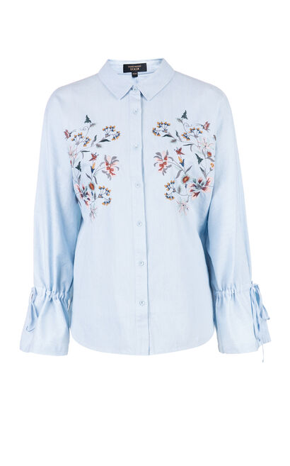 Vero Moda Women's Floral embroidery Drawstring Cuffs Shirt|318162501, Blue, large