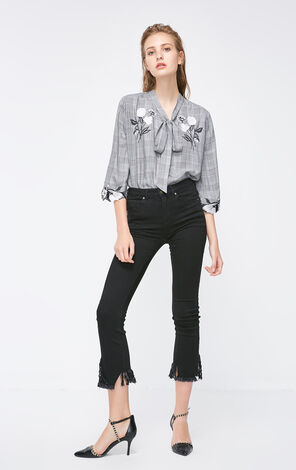 Vero Moda 2018 Autumn Embroidered Trims 3/4 Sleeves Front Lace-up Plaid Shirt