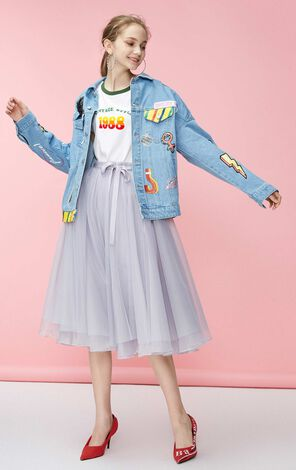 Vero Moda 2019 Spring New 100% Cotton Letter Print Graffiti Short Denim Coat