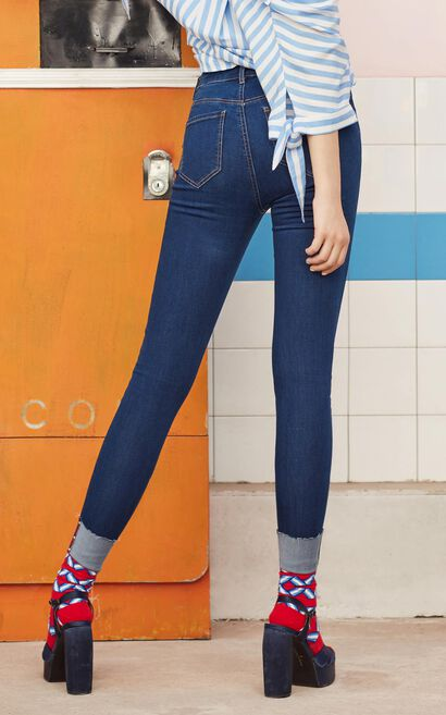 Vero Moda 2018 Autumn Rivet Hardware Rolled Cuffs Slim Fit Jeans , Blue, large